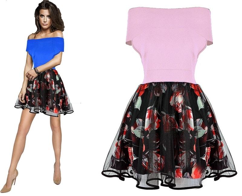 e9044f836b80 Studiomody.cz - Dámské luxusní šaty s květovanou sukní - pink ...