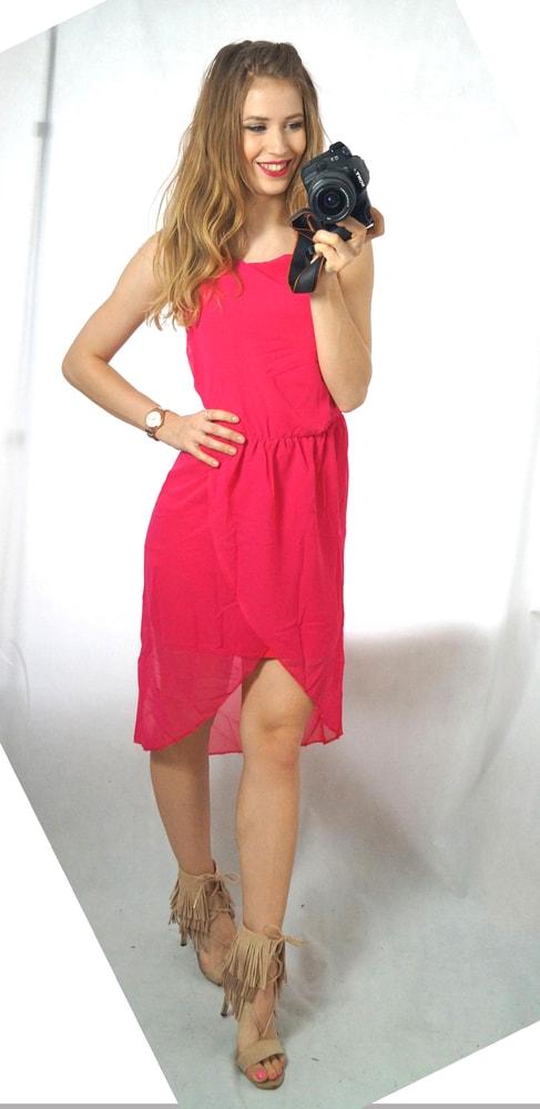 ac8ff98fae43 Studiomody.cz - Luxusní dámské šifonové šaty - fuchsia - Sukně