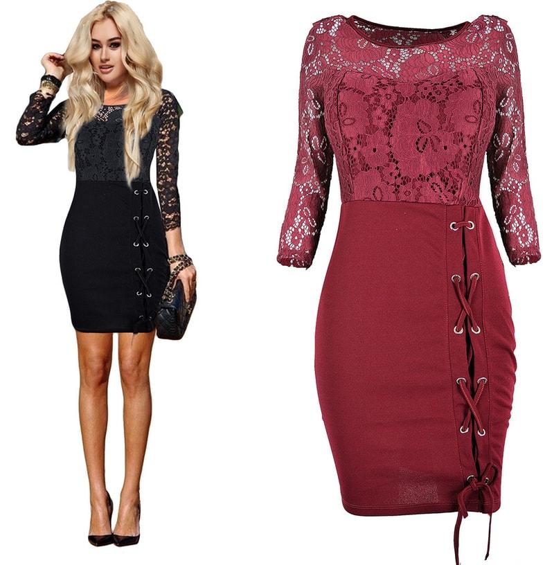 e1b21940ae7d Studiomody.cz - Luxusní krajkové šaty - burgundy - Sukně