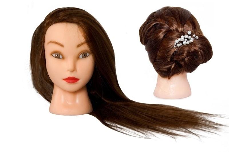 Cvičná hlava Annabelle k prodlužování vlasů, střihy, účesy + stojan ZDARMA! až 60cm II. Jakost