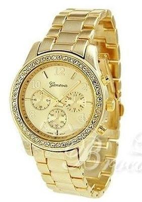 Luxusní hodinky s krystaly Swarovski Elements- gold II. jakost