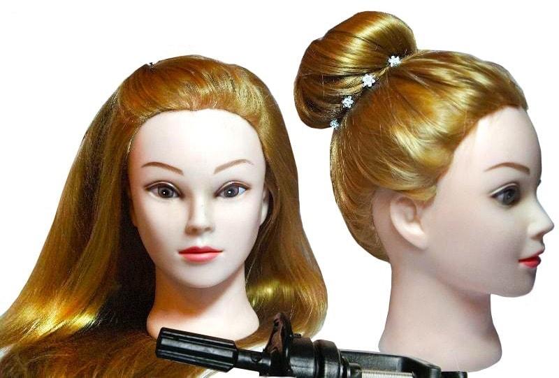 Cvičná hlava Bianca k prodlužování vlasů, střihy, účesy + stojan ZDARMA! Vlasy 70cm! II.jakost
