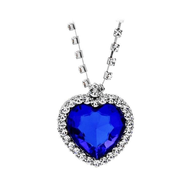 f1317f71d Náhrdelník Swarovski Elements - TITANIC srdce oceánu, tmavě modrá
