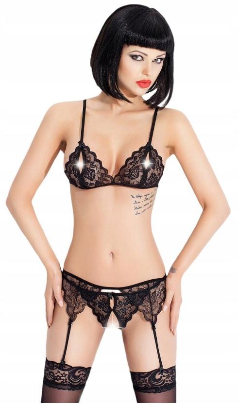 Luxusní krajkové prádlo s podvazky - black - S/M