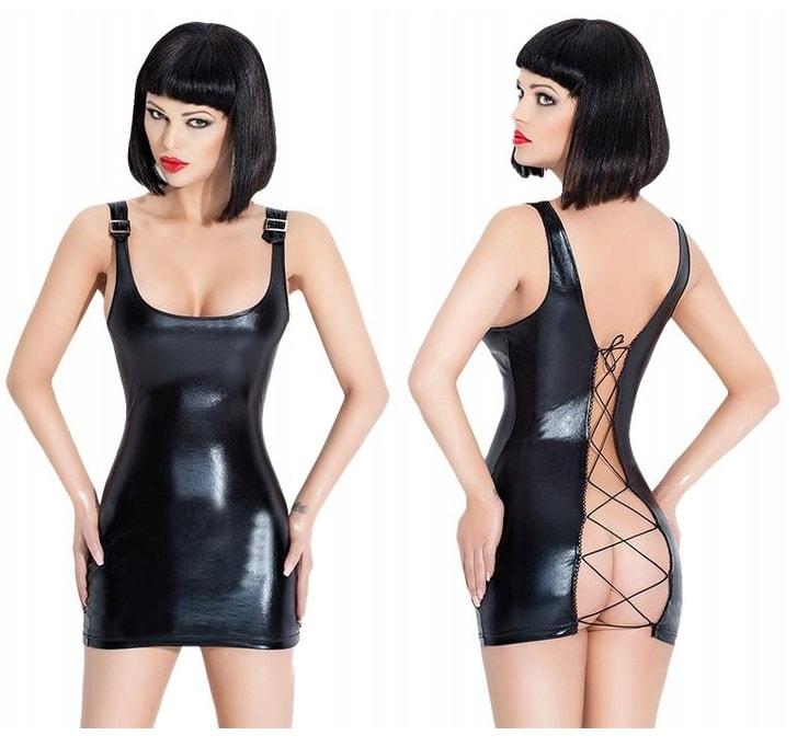 Luxusní latexové šaty se šněrováním - S/M