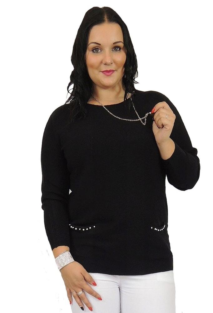 Dámský delší svetřík s perličkami - black - 4XL/5XL