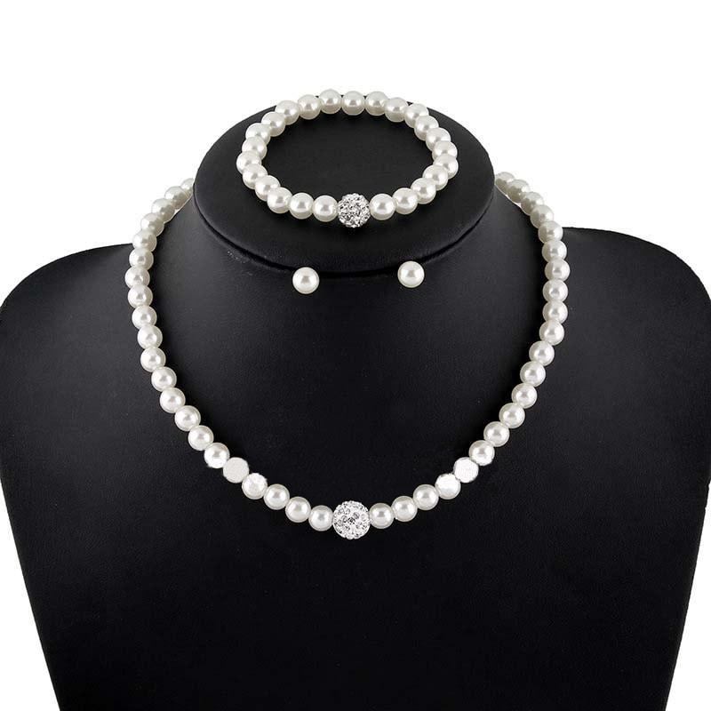 Luxusní perlová sada náhrdelníku, náramku a náušnic