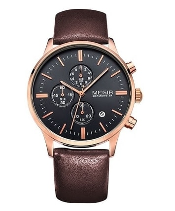 Nový model stylových pánských hodinek MEGIR Chronograph TLW11 - gold brown e3b827b5c7