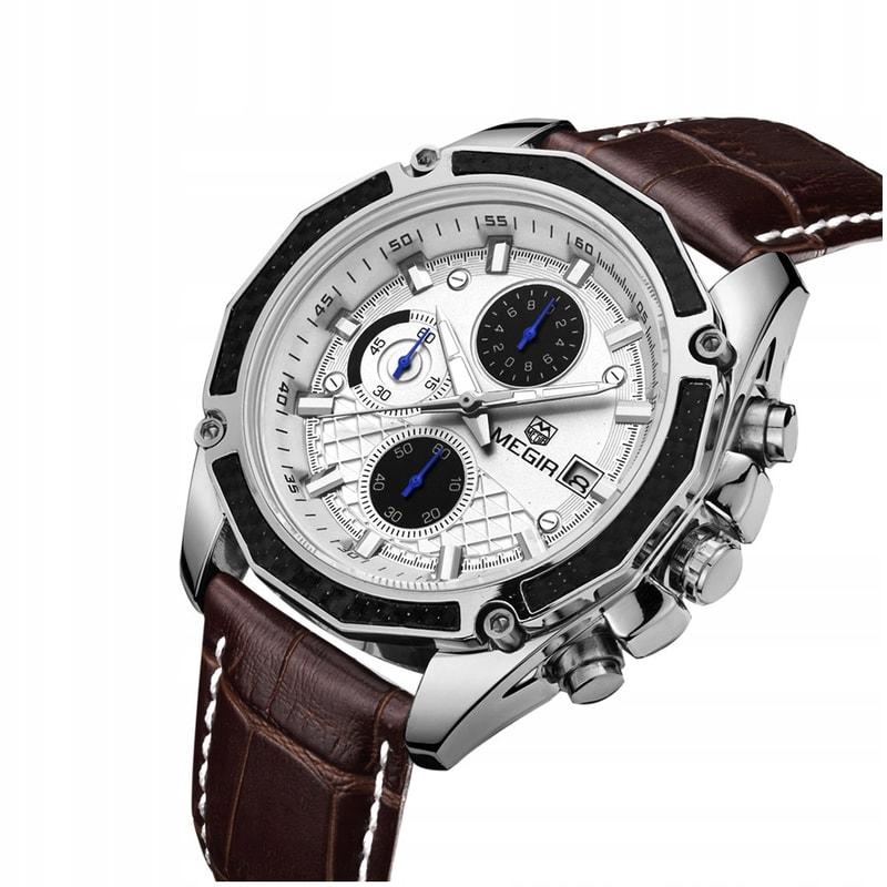 Pánské stylové hodinky MEGIR Classic Chrono ML2015G - brown b9a560423c