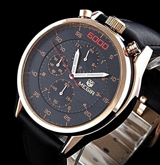 Pánské hodinky MEGIR 6000 v ležérním stylu pro gantlemany - black gold 71e3fc477b