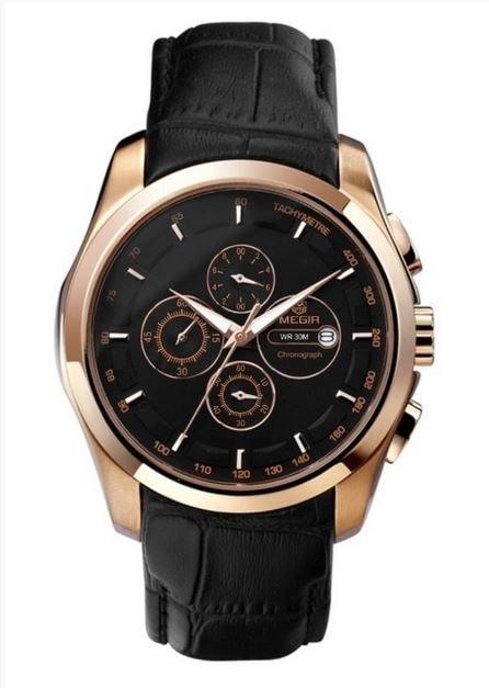 Pánské hodinky MEGIR oblíbený model PILOT Original - gold black 1417e897c3