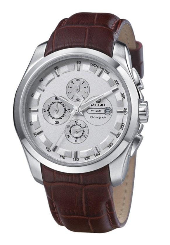 Pánské hodinky MEGIR oblíbený model PILOT Original - silver brown 53269f8300