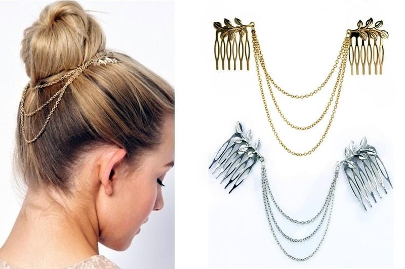 636cd3df049 Studiomody.cz - Luxusní ozdobné hřebínky do vlasů s řetízky - silver ...