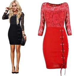 Studiomody.cz - Luxusní krajkové šaty - red - Sukně 139b481d65